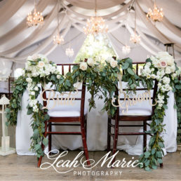 Pala Mesa Resort tented wedding reception head table